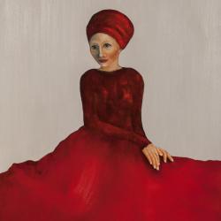 赤いターバンの女性